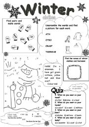 English teaching worksheets: Winter clothes