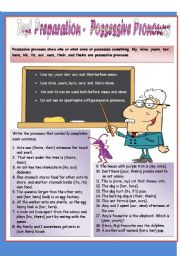 English Worksheet: Test Preparation - Possessive Pronouns