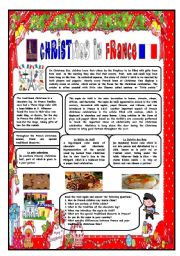 English Worksheet: CHRISTMAS AROUND THE WORLD - PART 3 - FRANCE (B&W VERSION INCLUDED) - READING COMPREHENSION