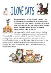 English Worksheets: I LOVE CATS