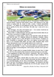 English Worksheets: Silence on concussions part 1 ( the tex t )