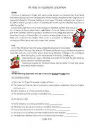 English Worksheet: Christmas in UK and USA (Reading, True/False + Jingle Bells song)