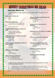 English Worksheets: Watch the episode Merry �Xmas Mr Bean and do the activities!  Have fun!
