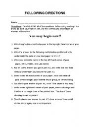 Printables Following Directions Worksheets english teaching worksheets following directions directions