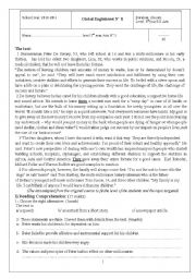 English Worksheets: End of first term test for 3rd year secondary education Arts.