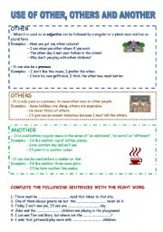 English Worksheet: USE OF OTHER, OTHERS AND ANOTHER WITH EXERCISES. YOLANDA