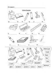 English teaching worksheets: School supplies