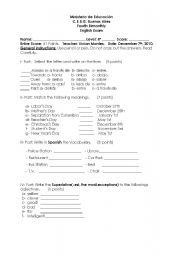 English worksheet: Final Exam