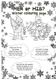 English Worksheet: HER or HIS? winter colouring page