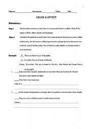 English Worksheets: Cause & Effect