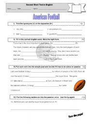 English Worksheet: Test: American Football, Passive, Vocabulary,