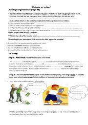 English Worksheet: Violence at school ( part 2)