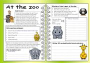 English Worksheets: Four Skills Worksheet - At the Zoo