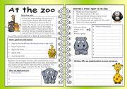 English Worksheet: Four Skills Worksheet - At the Zoo
