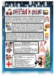 English Worksheet: CHRISTMAS AROUND THE WORLD - PART 4 - ENGLAND (B&W VERSION INCLUDED) - READING COMPREHENSION