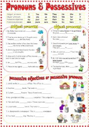 English Worksheet: Personal pronouns & Possessive