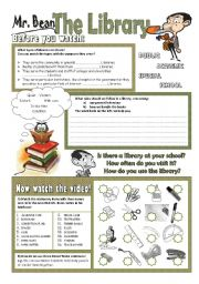 English Worksheet: Mr Bean - The Library (2 pages)