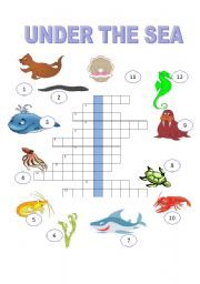 English Worksheet: under the sea   the crossword