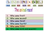 English Worksheets: The animal race!