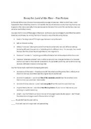 English Worksheet: Lord of the Flies Fan Fiction
