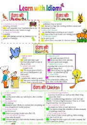English Worksheets: Learn with Idioms ( Part 16): Idioms with Butterfly, bee, Birds and Chicken