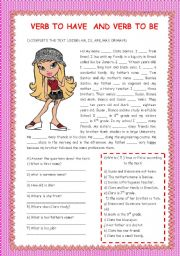 English Worksheet: VERB TO BE AND VERB TO HAVE