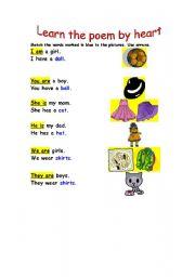 English Worksheets: Pronouns chant