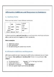 English Worksheets: Affirmative Additions and Responses to Sentences