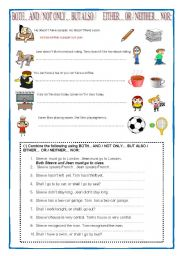 English Worksheet: both-and,not only but also, either-or