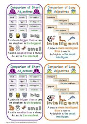 English Worksheet: COMPARISON OF ADJECTIVES BOOKMARKS