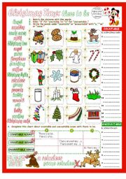 English Worksheets: There to be Affirmative, Negative & Interrogative with Countable & Uncountable Nouns with Christmas Theme 2 Pages & Answer Key.