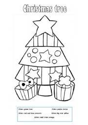 English teaching worksheets: Christmas tree