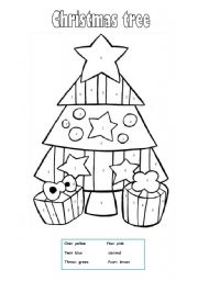 english worksheet christmas tree