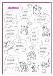 English Worksheets: Animal description