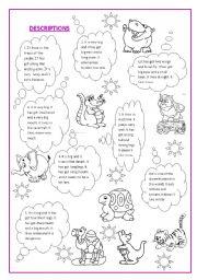 animal description esl worksheet by teresahmariah. Black Bedroom Furniture Sets. Home Design Ideas