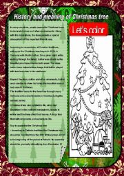 English Worksheets: Historyand meaning of ChristmansTree