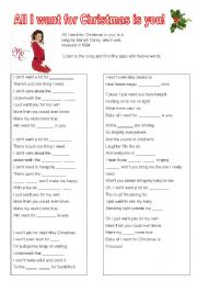 English Worksheets: All I want for Christmas is you gap fill