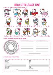 English Worksheet: Hello Kitty leisure verbs