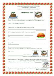 English Worksheets: Christmas food - video and worksheet -