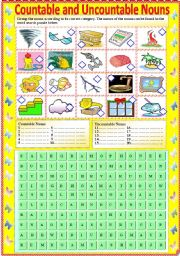 English Worksheets: Countable and Uncountable Nouns (with B/W version and answer key)
