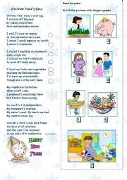 English Worksheet: On new year�s day poem + new year�s resolutions