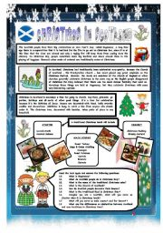 English Worksheet: CHRISTMAS AROUND THE WORLD - PART 5 - SCOTLAND (B&W VERSION INCLUDED) - READING COMPREHENSION