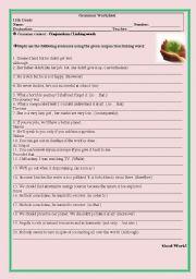 Grammar Worksheet (Conjunctions/Linking Words)