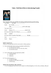 English Worksheets: Introductions Scene from Wall Street Movie Scene