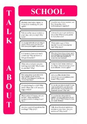 English Worksheet: School - 18 conversation cards (editable)