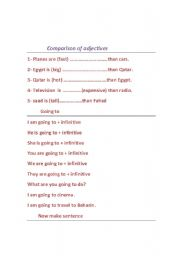 English Worksheets: comparison of adjective plus simple writing