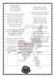 English Worksheet: Witches and witchcraft : a poem about witches