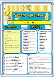 English Worksheet: NEGATIVE PREFIXES -il -ir -im theory + 4 exercises