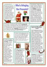 English Worksheets: Who�s Bringing the Presents?