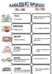 English Worksheets: amazing words
